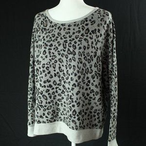Onque Casual | Gray Cheetah Sweatshirt | Sz XL